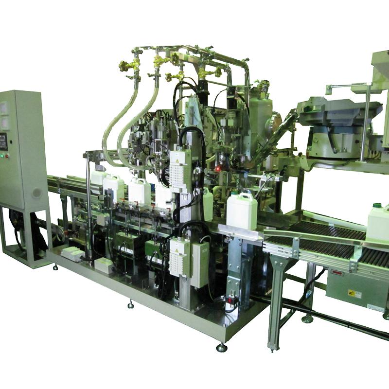 ポリ容器3種兼用自動充填・蓋締設備